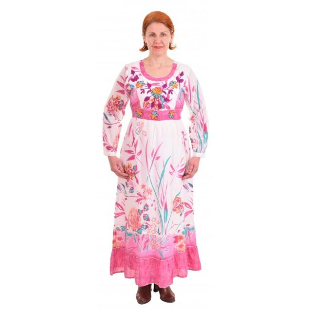 Платье длинное / Вышивка / Розовое